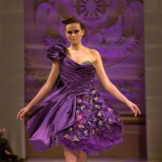 Mor Pırpırlı İşleme Detaylı Gece Elbisesi Abiye Modelleri