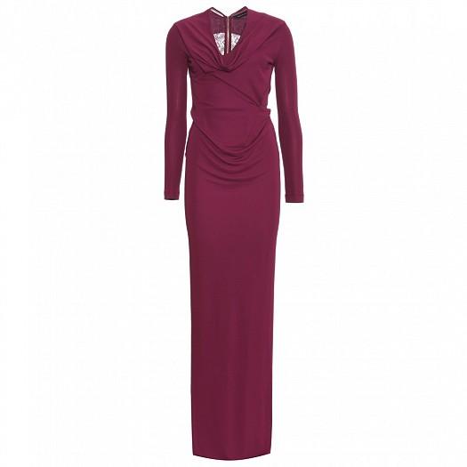 Kolları Uzun Bordo Renk Dar Kesimli Elbise Modeli