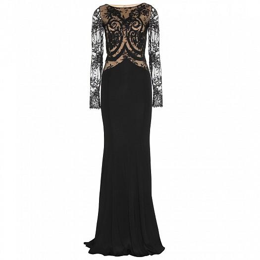 Siyah İşleme Detaylı Dar Kesim Elbise Modeli