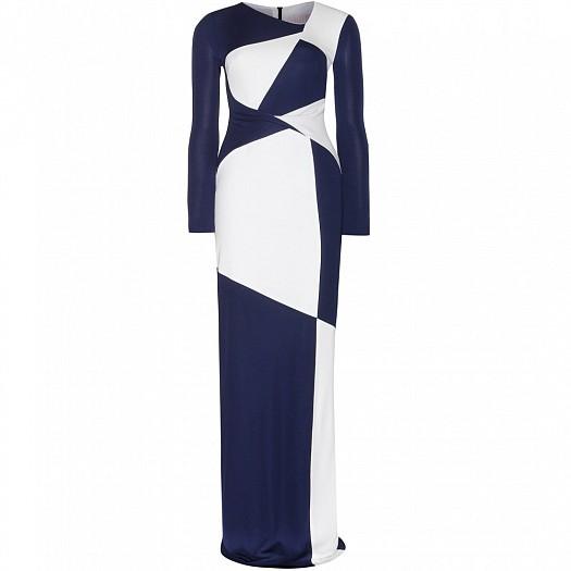 Mavi Beyaz Çift Renkli Uzun Dar Kesim Elbise