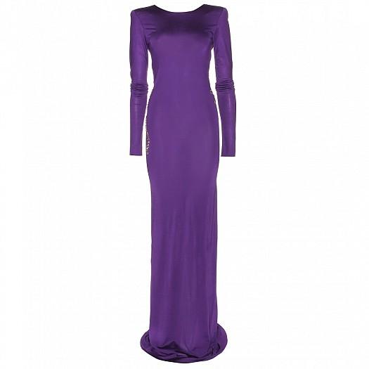 Mor Renkli Uzun Kollu Dar Kesimli Abiye Elbise Modeli