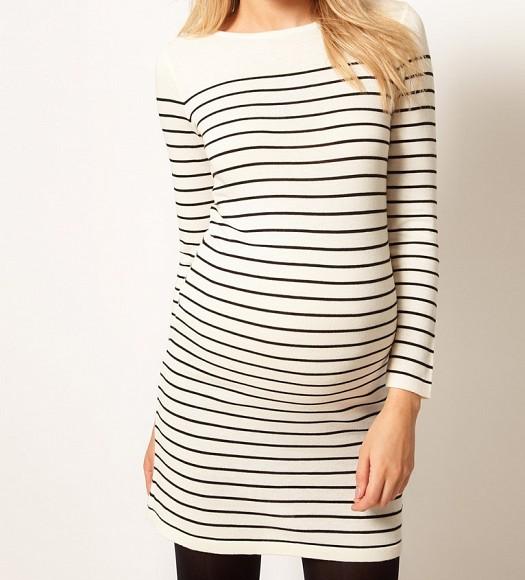 Düz Çizgili Hamile Giyim Üst Kıyafet, Elbise Modelleri