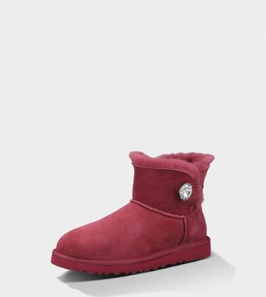 Kırmızı Renkli Süet Kışlık Taşlı Bot Ayakkabılar