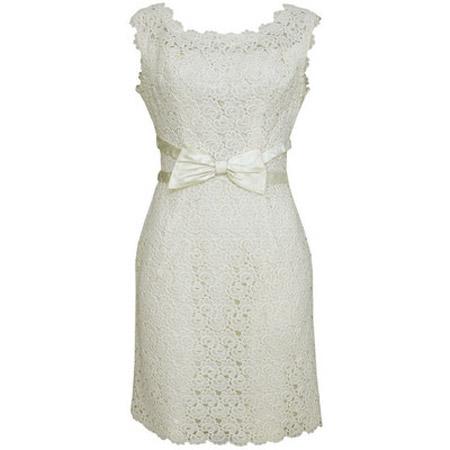 Beyaz İşleme Detaylı Kısa Elbise Modelleri