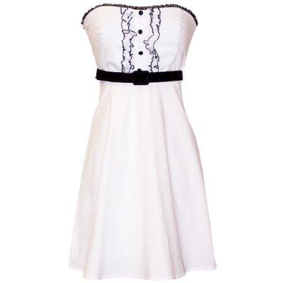 Beyaz İşleme Detaylı Kısa Elbise Modeli