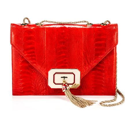 Kırmızı Deri Baskılı Zincirli Şık Bayan Çanta Modelleri