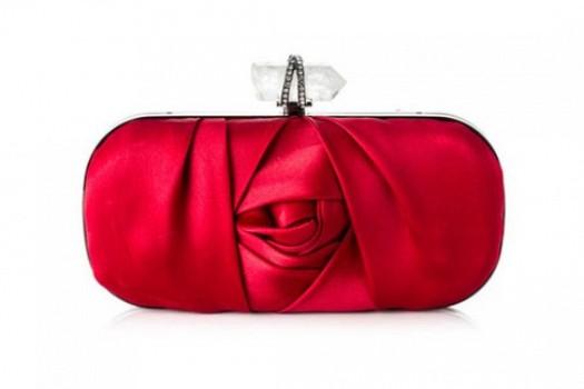 Kırmızı Taşlı Şık Bayan El Çantası Modelleri