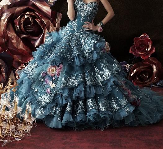 Fırfırlı Tül Detaylı Koyu Mavi Çiçek İşlemeli Nişanlık Elbiseleri