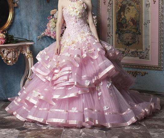 Pembe Tül Şerit Detaylı Dantel İşlemeli Nişanlık Elbise Modelleri