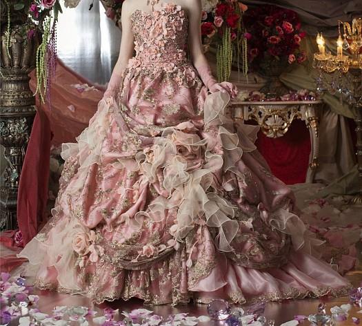 Somon Rengi İşlemeli Kabarık Nişanlık Elbise Modeli