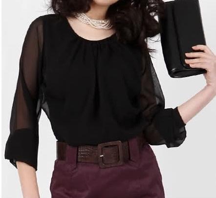 Şifon Siyah Gömlek Modeli