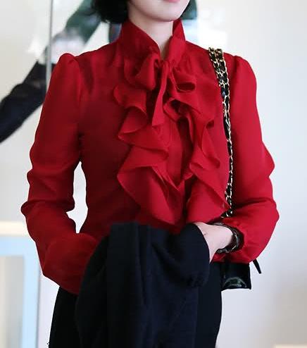 Fırfırlı Kırmızı Şifon Gömlek Modeli