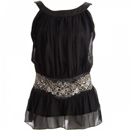 Siyah Şifon Elbise Modeli