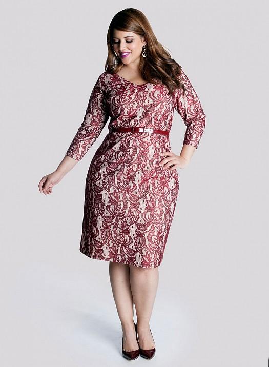 Etnik Kırmızı Desenli, Kemer Detaylı Büyük Beden Elbise Modeli