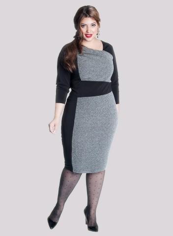 Gri Siyah Kuşaklı Büyük Beden Elbise, Kıyafet Modelleri
