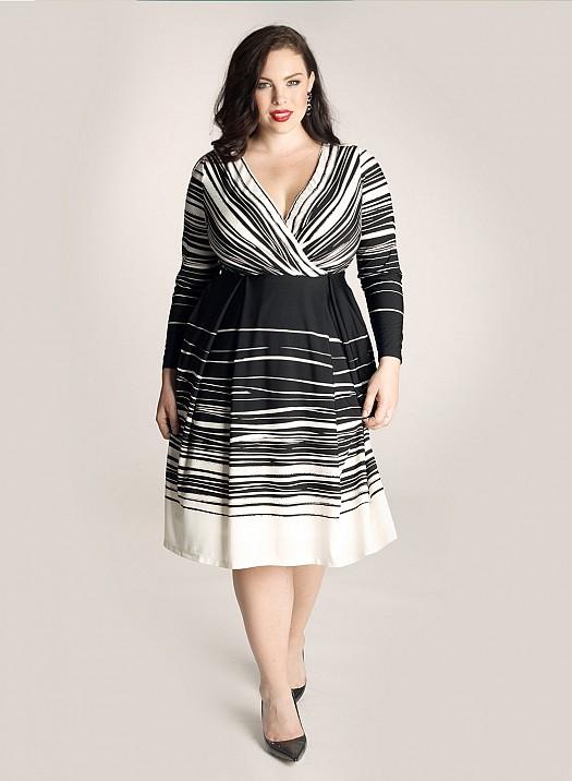 Monokrom Büyük Beden Şık Bayan Elbise Modelleri