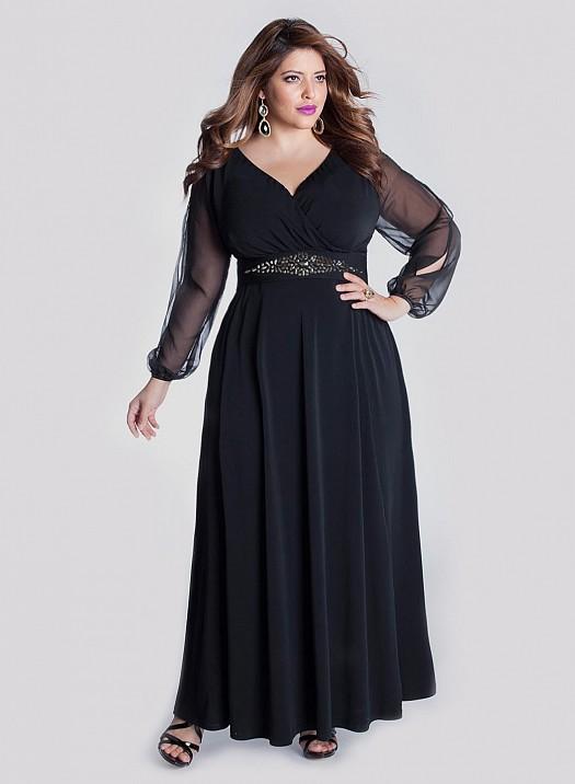 Siyah Taş Kemer İşlemeli Büyük Beden Şık Kıyafet Modelleri