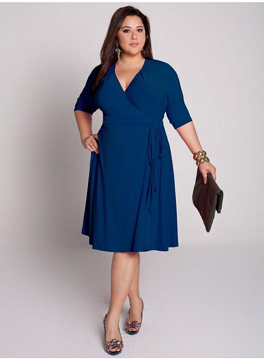 Saks Mavisi Yandan Bağlamalı Büyük Beden Elbise Modelleri