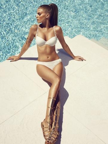 Beyaz İnce Askılı Yeni Sezon Bikini Modelleri