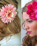 Çiçekler ile saç stilleri
