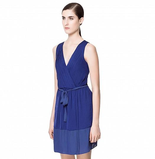 Koyu Mavi Kuşaklı Derin V Yakalı Yazlık Zara Elbise Modelleri