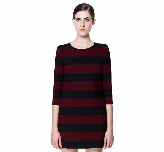Siyah Bordo Çizgili Yarım Kollu Zara Elbiseler