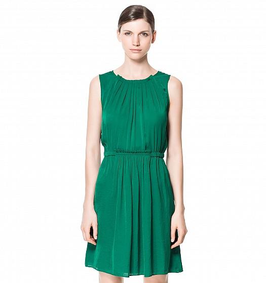 Koyu Yeşil Büzgülü Kısa Zara Elbise Modelleri