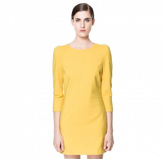 Hardal Sarısı Yarım Kollu Zara Elbiseler