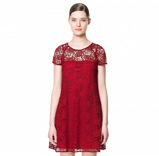 Kırmızı Dantelli Yazlık Kısa Zara Elbise Modelleri