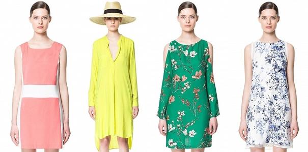 Pembe, Sarı, Yeşil, Çiçekli İlkbahar Yaz Zara Elbise Modelleri