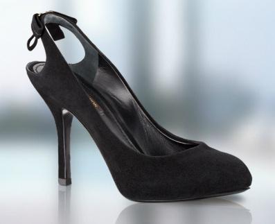 Louis Vuitton Arkası Açık Siyah Süet Topuklu Bayan Ayakkabı Modelleri