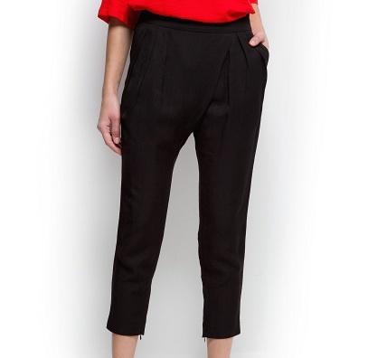 Mango Siyah Geniş Kısa Paçalı Pantolon Modelleri