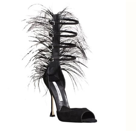 Siyah Burnu Açık Sıra Dışı Tüylü Brian Atwood Ayakkabı Modelleri