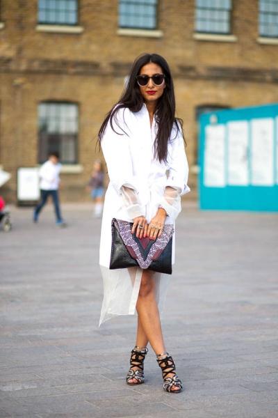 Londra Beyaz Uzun Gömlek Elbise Modası