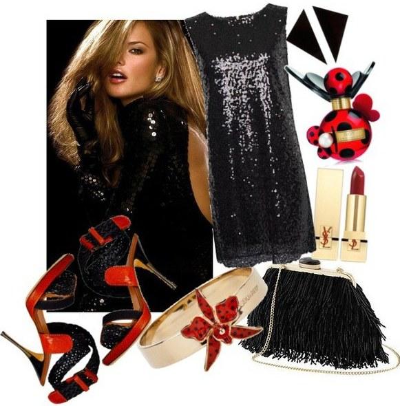 payetli siyah elbise 1