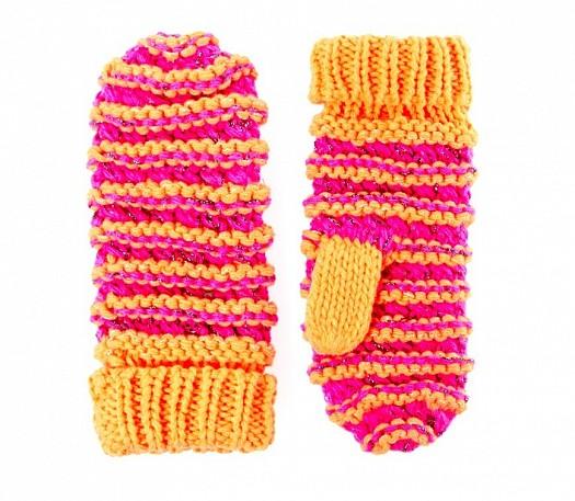 Pembe Sarı Örgü Kışlık Bayan Eldiven Modelleri