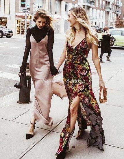 Desenli Elbise Sokak Kombinleri