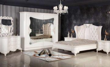 Monokrom siyah beyaz yatak odası