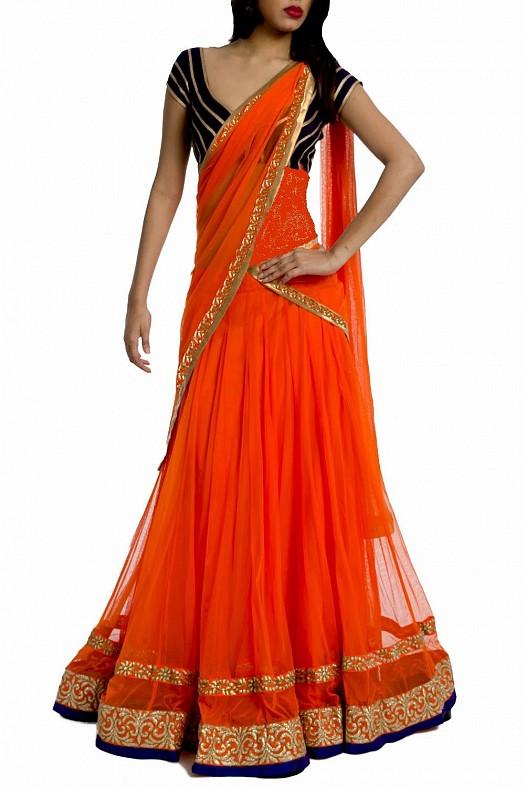 Ateş Kızılı Altın Rengi Motif Süslemeli Hint Elbise Modelleri