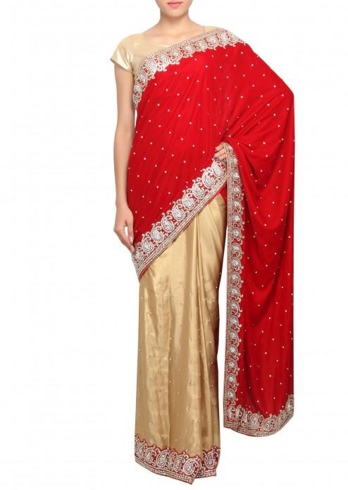 Kırmızı Dantel İşlemeli Hint Kıyafet Elbise Modelleri