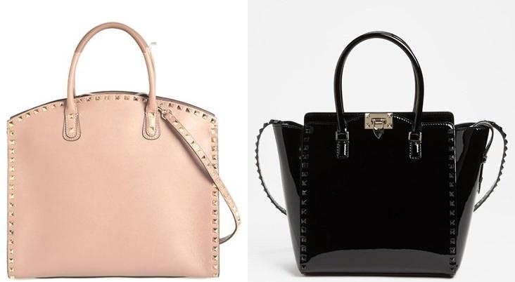 Pudra Rengi, Siyah Parlak Renk Zımbalı Valentino Çanta Modelleri