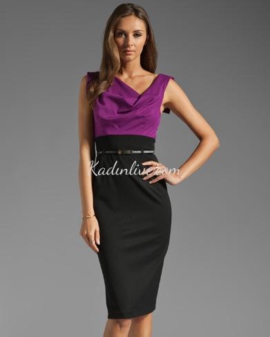 İki tonlu Elbise Zayıf Görünmek İçin