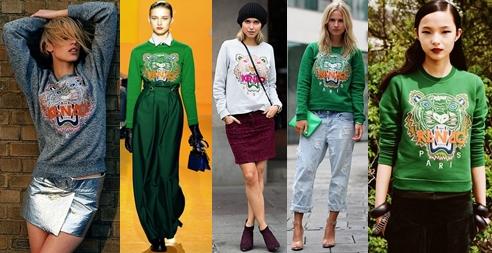 Gri, Yeşil, Beyaz Kenzo Kaplan Sweatshirt Sokak Kombinleri