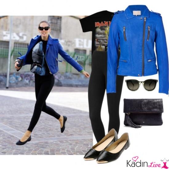 Mavi Deri Ceket, Siyah Tişört, Siyah Tayt Kombinleri