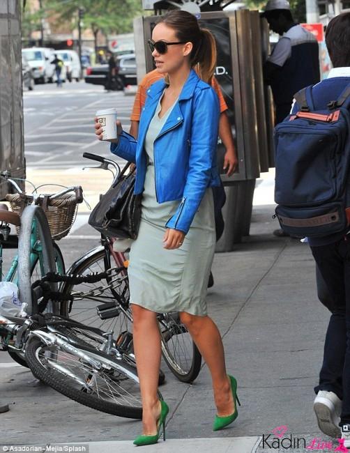 Mavi Deri Ceket, Uzun Elbise Kombinleri
