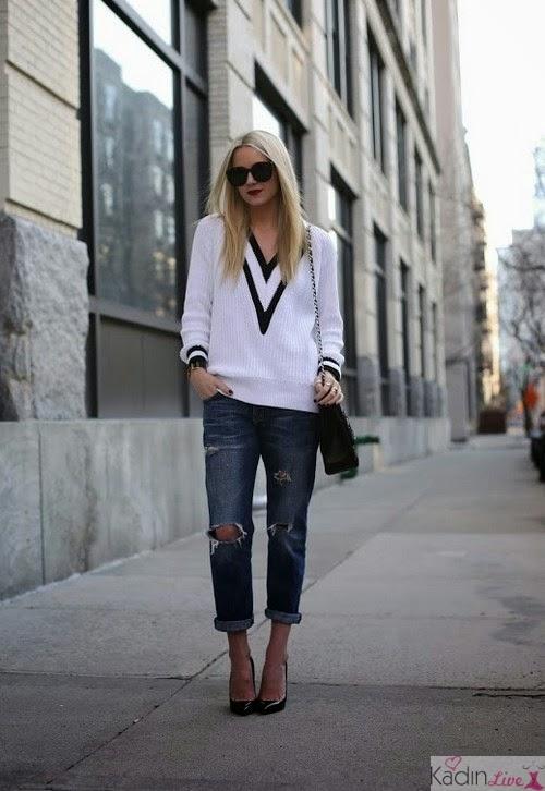Beyaz Kriket Kazak, Jean (Kot) Pantolon Kombinleri
