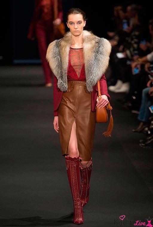 Altuzarra Sonbahar Kış Kırmızı Kürklü Ceket Modelleri Yeni Sezon