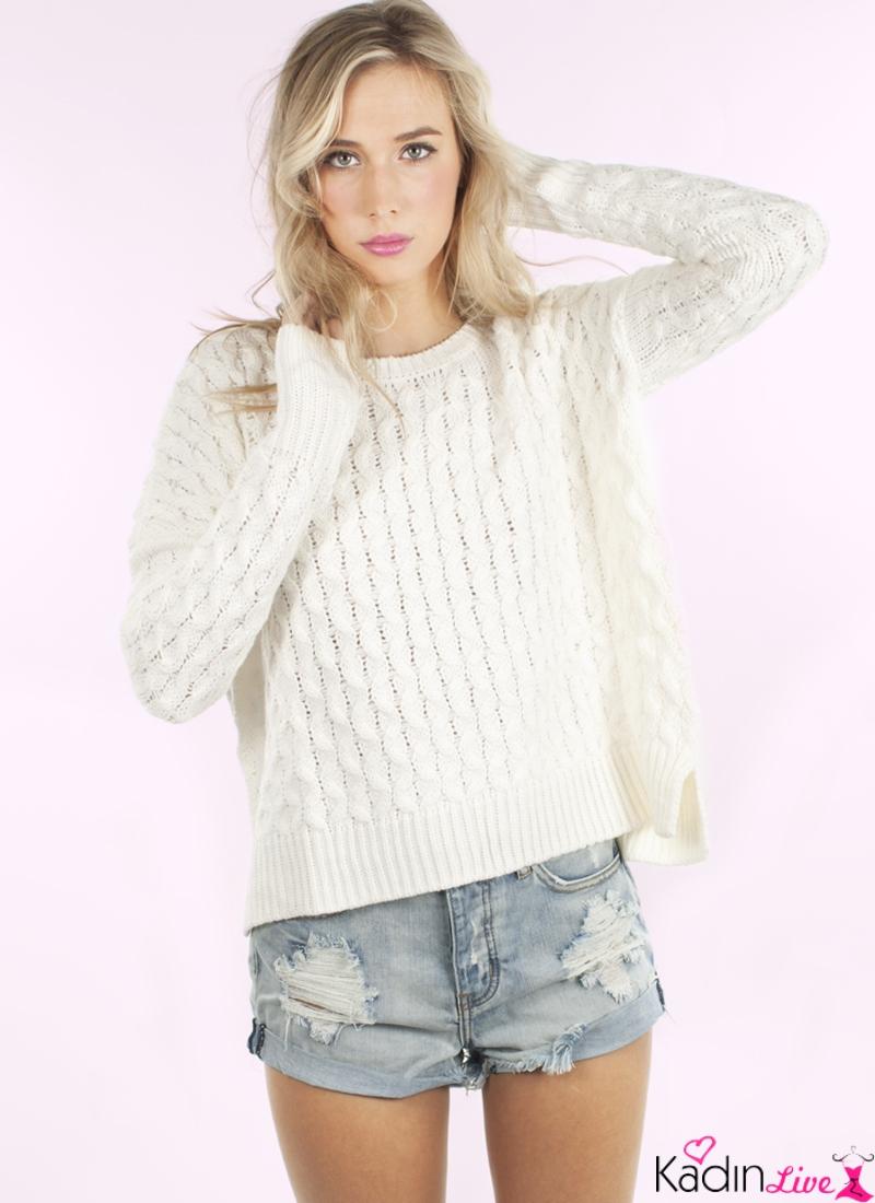 Beyaz Kazak Modelleri Kış Trendleri