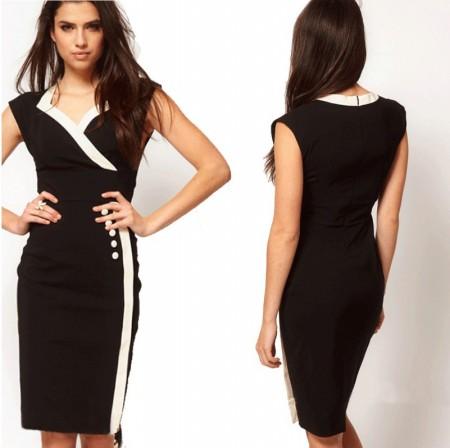 6446f3e6e6698 Monokrom Siyah Beyaz Diz Altı Elbise Modelleri - Kadinlive.com