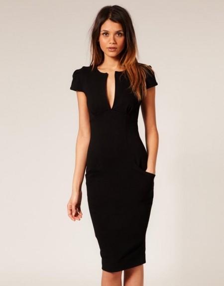 f1aabed874036 Açık V Yaka Siyah Diz Altı Elbise Modelleri - Kadinlive.com